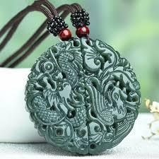 <b>100</b>% <b>Natural Green HETIAN</b> Jade Pendant Carved Chinese ...