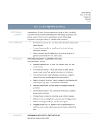 pet sitter resume samples tips and templates pet sitter resume sample