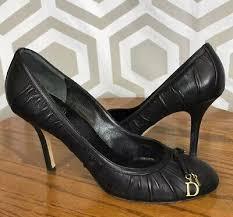 Christian Dior <b>Black Charmed</b> Rouged <b>Leather</b> Round Toe Pump ...