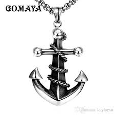 <b>GOMAYA Mens</b> Anchor Retro Vintage Rock <b>Jewelry</b> Silver Color S...