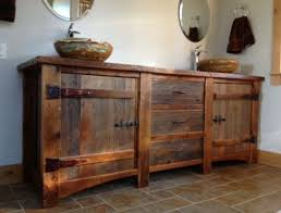 bathroom layout ideas rustic wooden vanity: heritage collection barn wood vanity with copper sinks rustic bathrooms