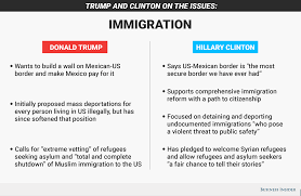hillary clinton and donald trump positions on immigration immigration graphic