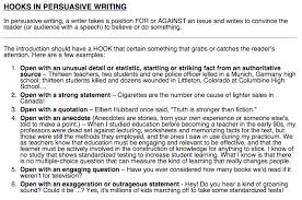 language arts with mr mcginty  march  it can be an anecdote a very short story a fact a quote or a question some examples of argument essay hooks can be found below
