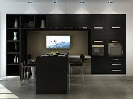 black kitchen dining sets: modern black kitchen set with tv wall plus recessed light also awesome dining chairs