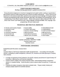 equity research associate resume research resume template