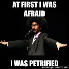 at first I was afraid i was petrified - AFRO Knows | Meme Generator via Relatably.com