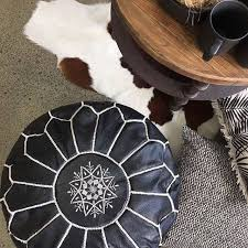 <b>Black pouf</b> ottoman leather ottoman <b>handmade pouf</b> - Allottoman ...