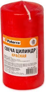 """Свеча """"Paterra"""", столбик, цвет: красный, 6 х 12 см — купить в ..."""
