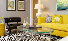 unique and colorful living room design with bright yellow sofa idea and colorful cushion and zebra bright yellow sofa living