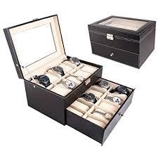 <b>FCH</b> 20-Slot <b>PU Leather</b> Watch Box Glass Top Black Jewelry ...