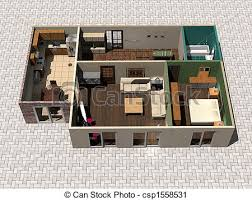 Clipart of D house plan   D rendering house plan csp     D house plan   csp