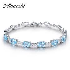 <b>AINUOSHI</b> 4.5ct <b>Natural Sky</b> Blue Topaz <b>Oval</b> Gemstone jewellery ...