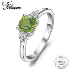 <b>JewelryPalace 1.2ct</b> Cushion Cut Genuine Peridot Ring 925 Sterling ...