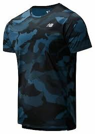 New Balance Men's <b>Printed Accelerate Short Sleeve</b> Black with Grey ...