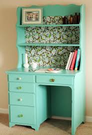 redo old desk hutch with adorable new potential teal paint with leftover wallpaper on the amazing diy office desk