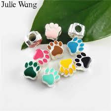 <b>Julie Wang</b> 10pcs Alloy Antique Silver Mie Bone Dog Footprints ...