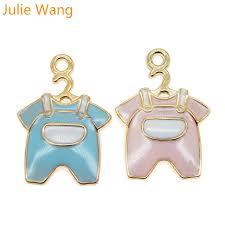 <b>Julie Wang</b> 6PCS Baby Cloth Charms Enamel <b>Mixed</b> Pink Blue Gold ...