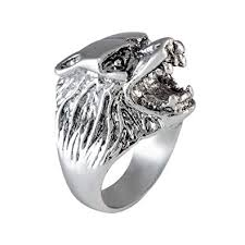Buy Sarah <b>Wolf</b> Face Finger <b>Ring</b> for Men - Silver [Jewelry] at ...