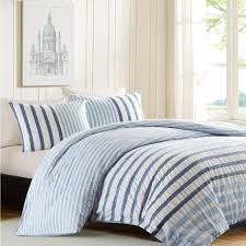 seersucker blue and white stripe cotton comforter set – sky iris