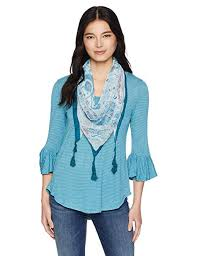 ONEWORLD Women's Petite Size 3/4 Sleeve Stripe <b>Top</b> with <b>Tassel</b> ...