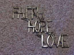 iron wall cross love: faith hope love  orig faith hope love