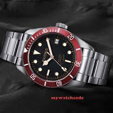 41mm <b>PARNIS black dial</b> Sapphire glass 21 jewels Miyota 8215 ...