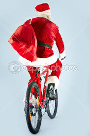 Resultado de imagem para imagem pai natal de bicicleta