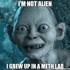 I'm not alien i grew up in a meth lab meme - Gollum (8247) | Memes ... via Relatably.com