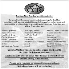 hinton parklander classifieds exciting new employment o exciting new employment opportunity conuma coal resources has immediate openings for qualified candidates a demonstrated history of strong safety