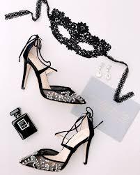 Wear our Florence <b>black crystal embellished</b> beaded wedding heel ...