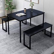 Rhomtree 3 Pieces Dining Set Table with 2 Benches ... - Amazon.com