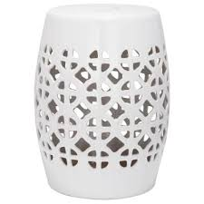 patio stool: safavieh circle lattice white ceramic patio stool acsa the home depot