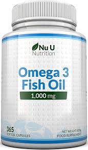 Omega 3 <b>Fish Oil 1000mg</b> - 365 Softgel Capsules - Up to 12 Month's ...