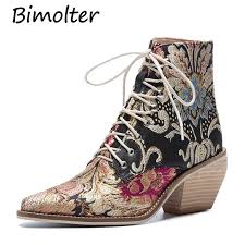 <b>Bimolter Women</b> Luxury Ethnic Embroidery Flower Ankle Boots ...