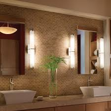 wonderful wall lamps as bathroom light fixtures beside clear mirrors on brown tile lessons you need interior design bedroom recessed lighting design ideas light