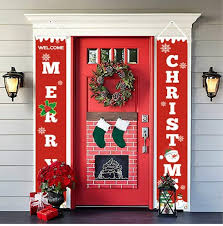 <b>Merry Christmas Porch</b> Banner Xmas <b>Outdoor</b> Decoration Couplet ...