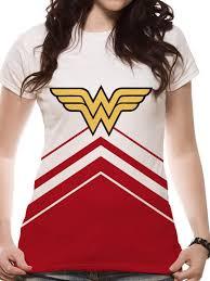 Buy <b>Wonder</b> Woman - <b>Cheerleader</b> Logo Sublimated Fitted <b>T</b>-shirt at ...