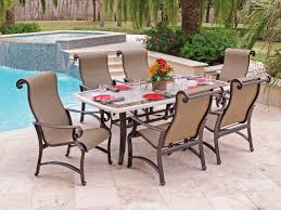 x rectangle outdoor patio pc dining carlsbad sling aluminum  pc dining set with  x  travertine stone top t