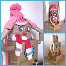 снеговик из <b>картонных</b> коробок | <b>Новогодние поделки</b> | Снеговик ...