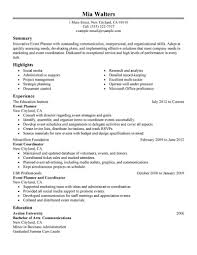 event planner resume template template event planner resume template