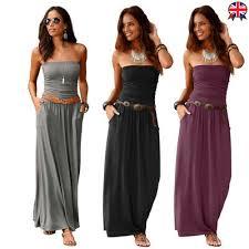 <b>Women</b> Strapless <b>Tube</b> Bandeau Tunic Maxi Dress Ruched Solid ...