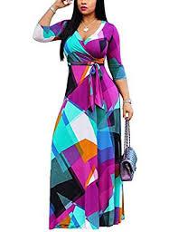 Akmipoem <b>Women's</b> Floral Print Wrap <b>V Neck 3/4 Sleeve</b> Maxi <b>Long</b> ...