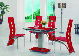 red glass dining table chairs