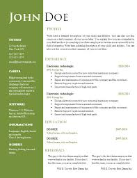 resume template  resume templates free word document resume    example of resume template   electronics technologist experience