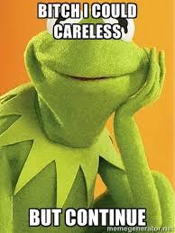 Bitch I Could CareLess But Continue - Kermit the frog | Meme Generator via Relatably.com