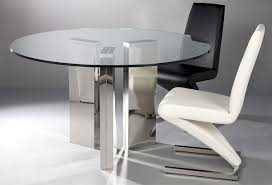 Round Glass Dining Room Table Chrome Gorgeous Round Transparent Glass Dining Table With Three