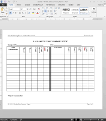 s summary report template weekly s summary report template
