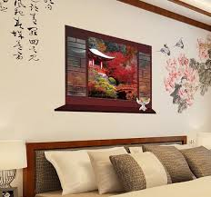 chinese style decor: d classical chinese style fake windows chom shanting wall stickers home decor study room sticker wall decor mjc in wall stickers from home amp garden on
