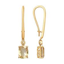 <b>Серьги</b> из золота с топазами Swarovski и <b>жёлтыми</b> Swarovski ...