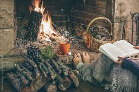 Image result for reading by the fireplace